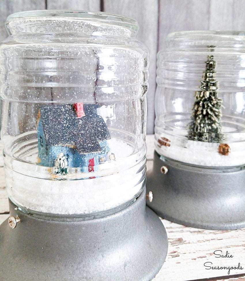 Repurposing a jelly jar light fixture as a winter snow globe