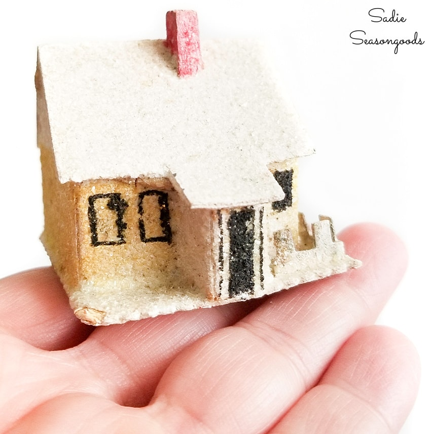 Vintage putz house to go in a winter snow globe