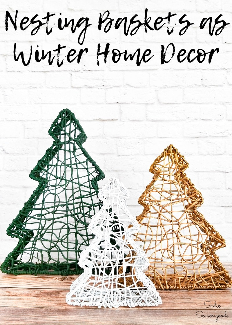 Winter home decor with Christmas tree baskets
