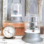 Winter Snow Globes in Jelly Jar Light Fixtures