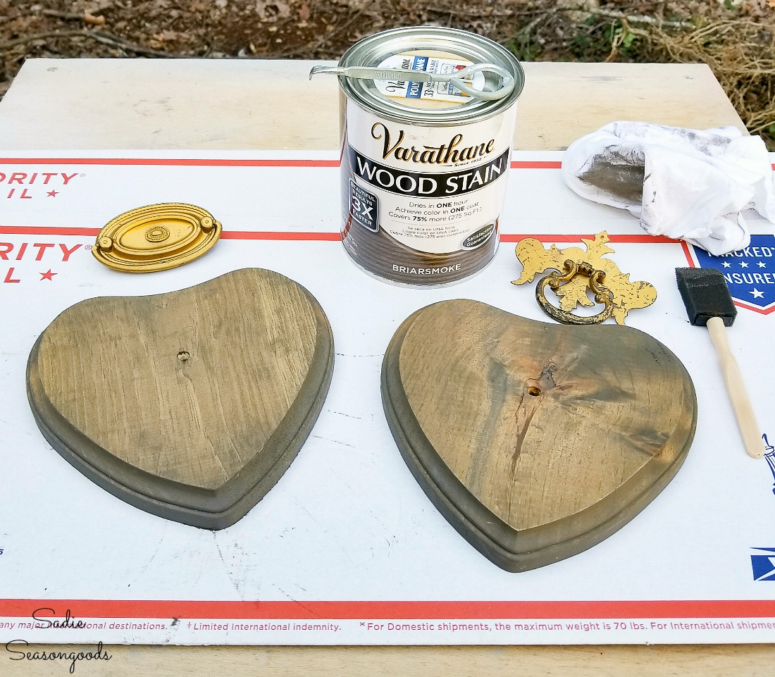 Briarsmoke stain on wooden hearts to use as industrial home decor for Valentine's Day