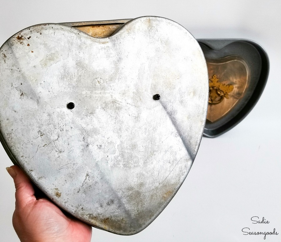 DIY valentine decorations with heart shape cake pans as industrial home decor