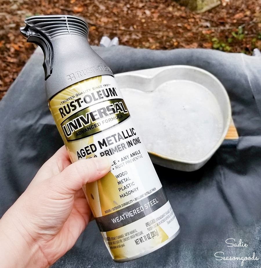 Galvanized spray paint to transform the heart shape cake pans into industrial home decor
