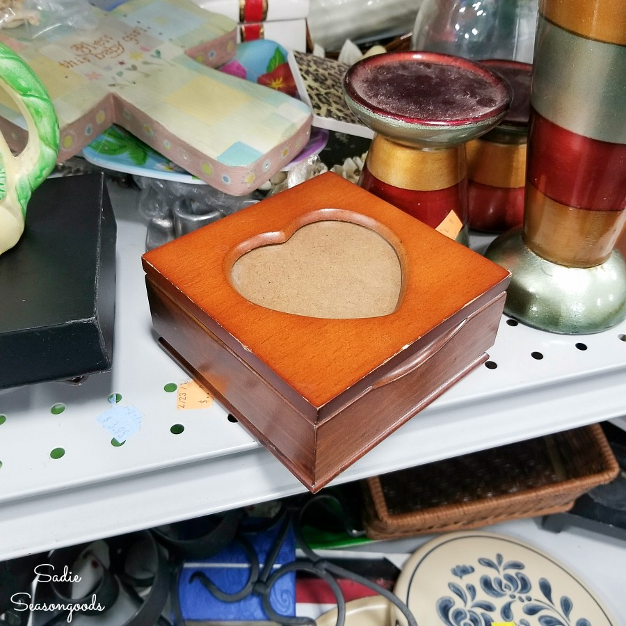 Mini jewelry box at the thrift store for upcycling into Valentine's Day home decor