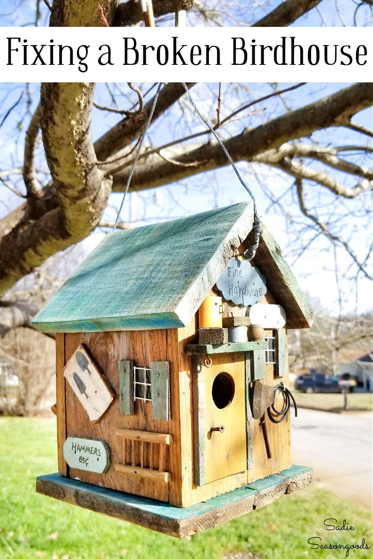 junk birdhouse for garden decor