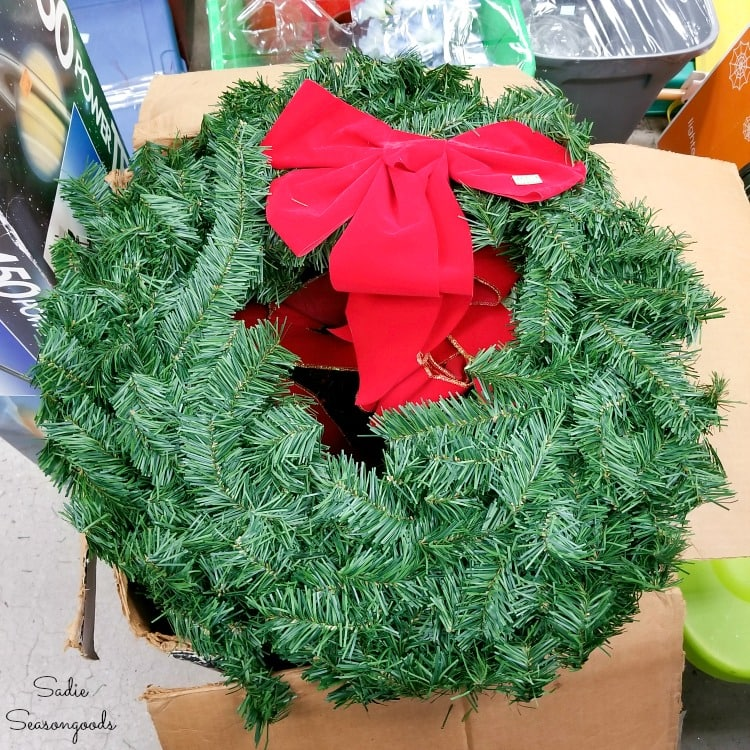Plain Christmas wreath at Goodwill