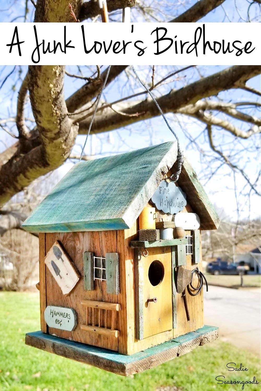 rustic birdhouse for a junk garden