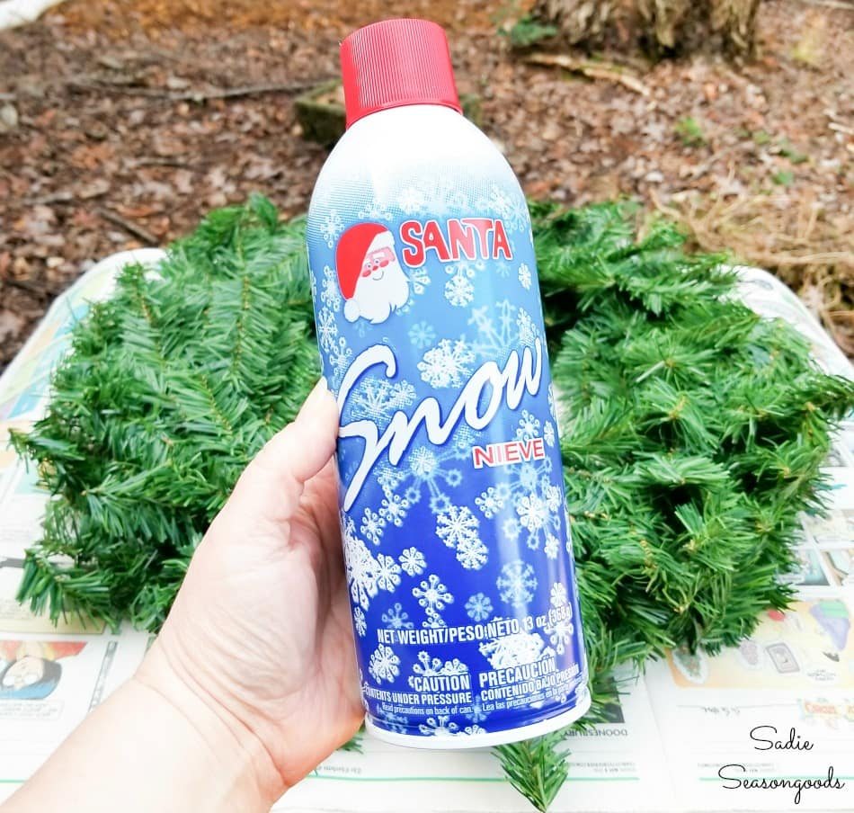Snow spray for flocking a wreath