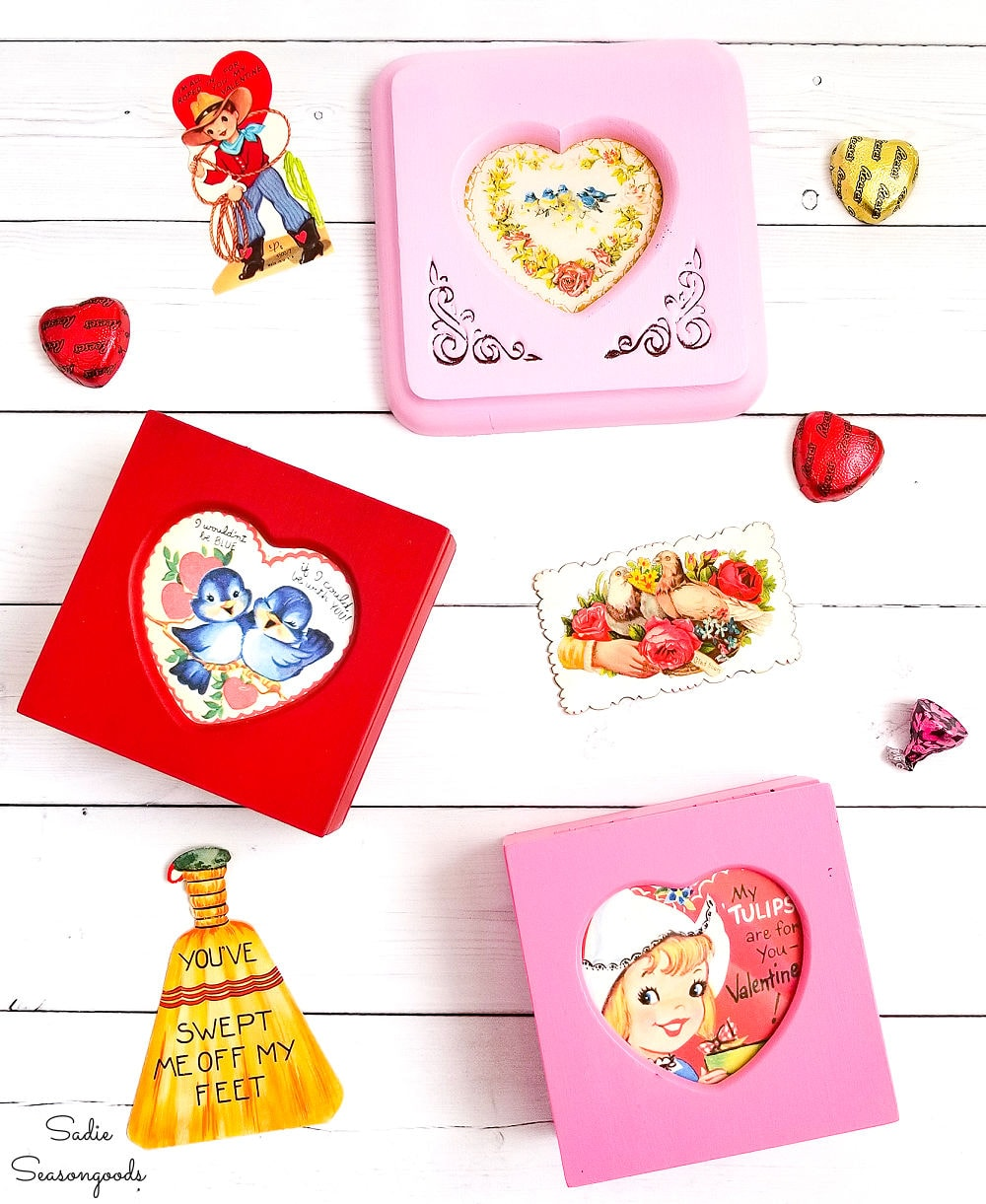 Valentine's day craft with jewelry boxes