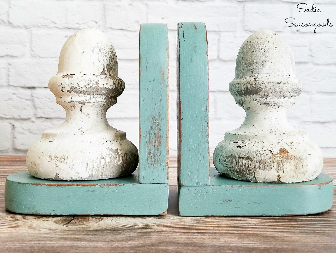 Vintage farmhouse decor with architectural antiques and wood bookends