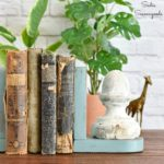 Vintage Farmhouse Decor with Wood Bookends and Architectural Antiques