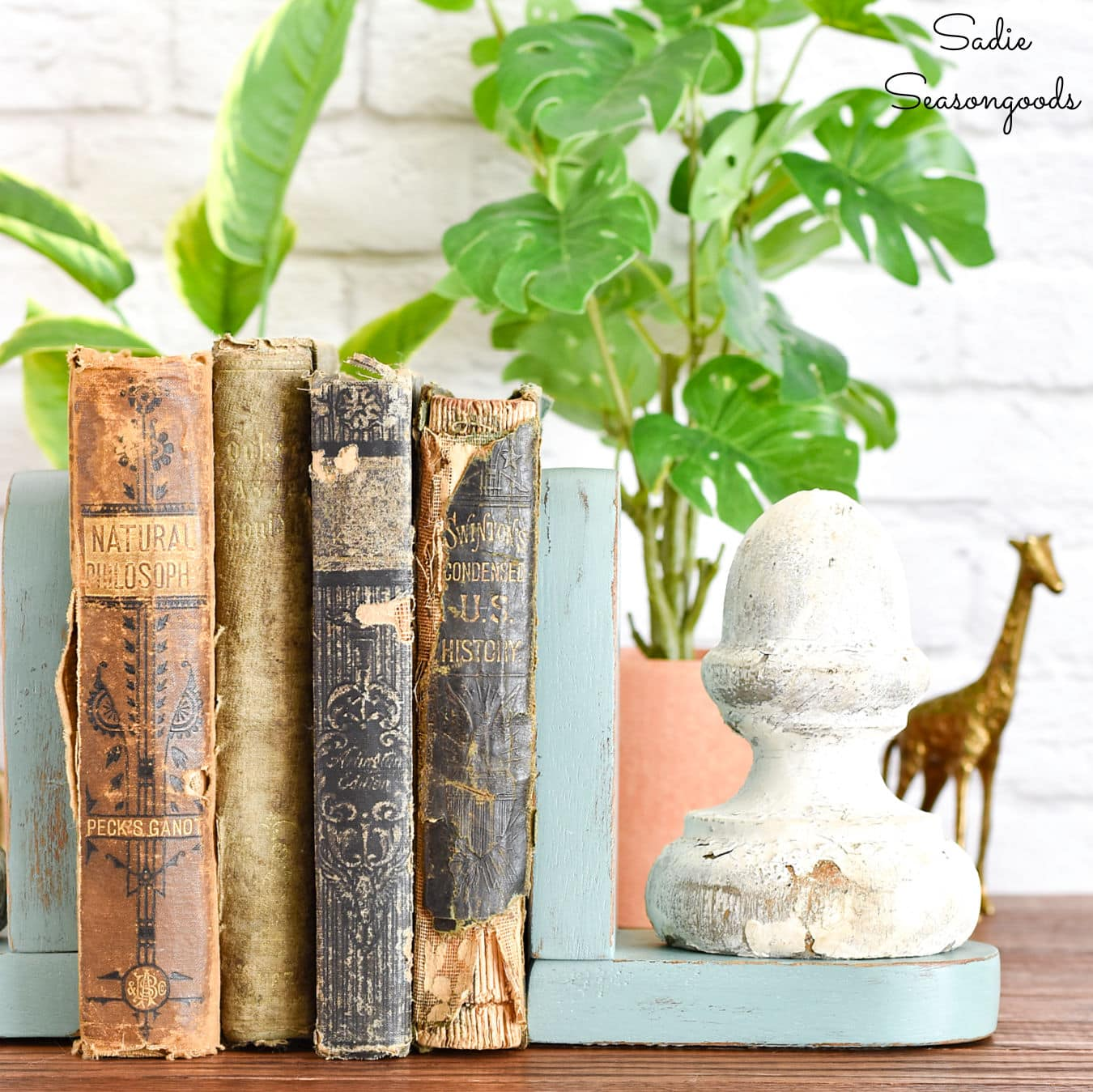 Farmhouse bookends with architectural salvage