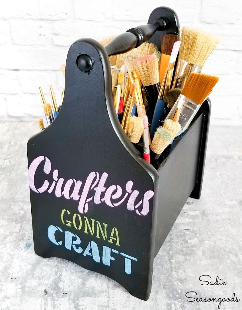 flatware caddy as a paint brush holder