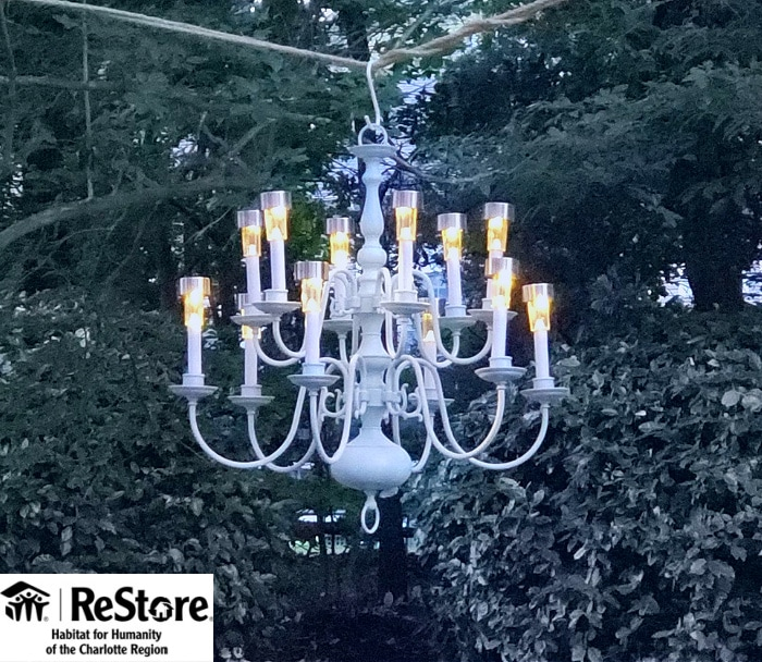 upcycled chandelier as solar lights