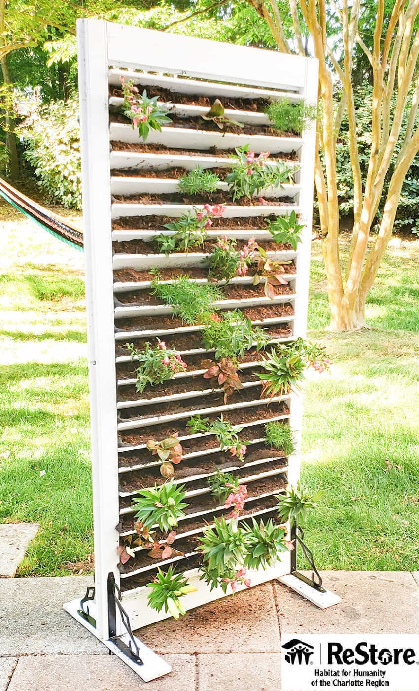 vertical planter with a shutter from habitat restore
