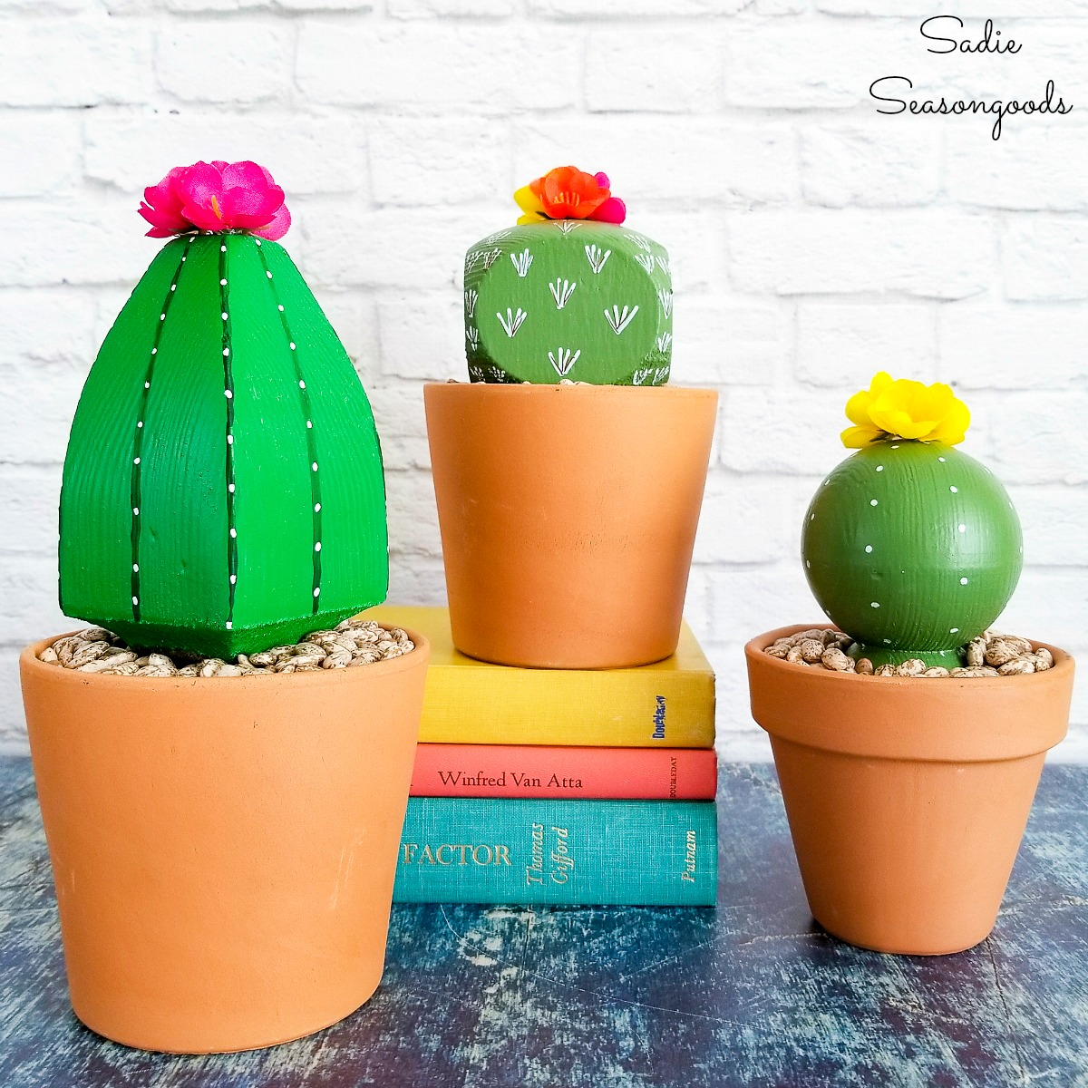 Cactus decor with a Boho vibe by upcycling the post caps into Boho plants