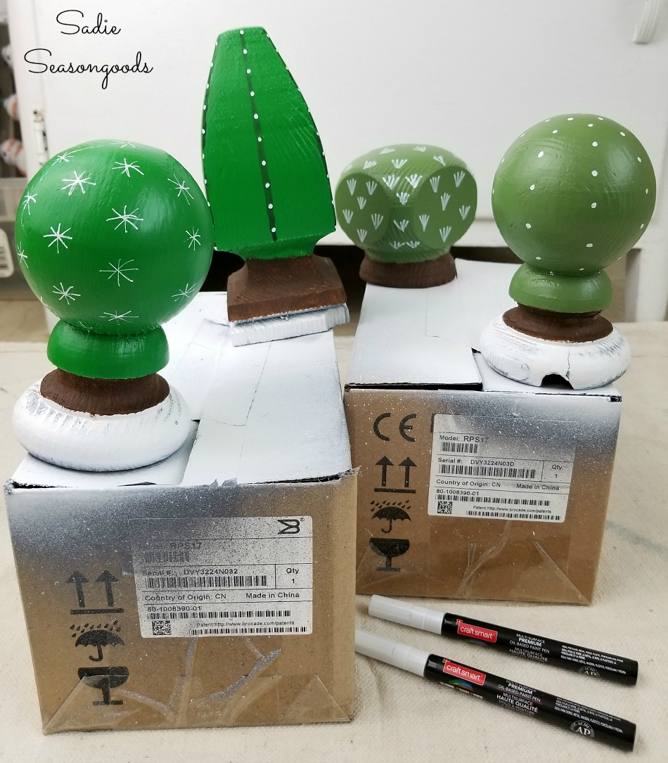 Post caps as cactus decor or faux cactus with a paint pen for spines