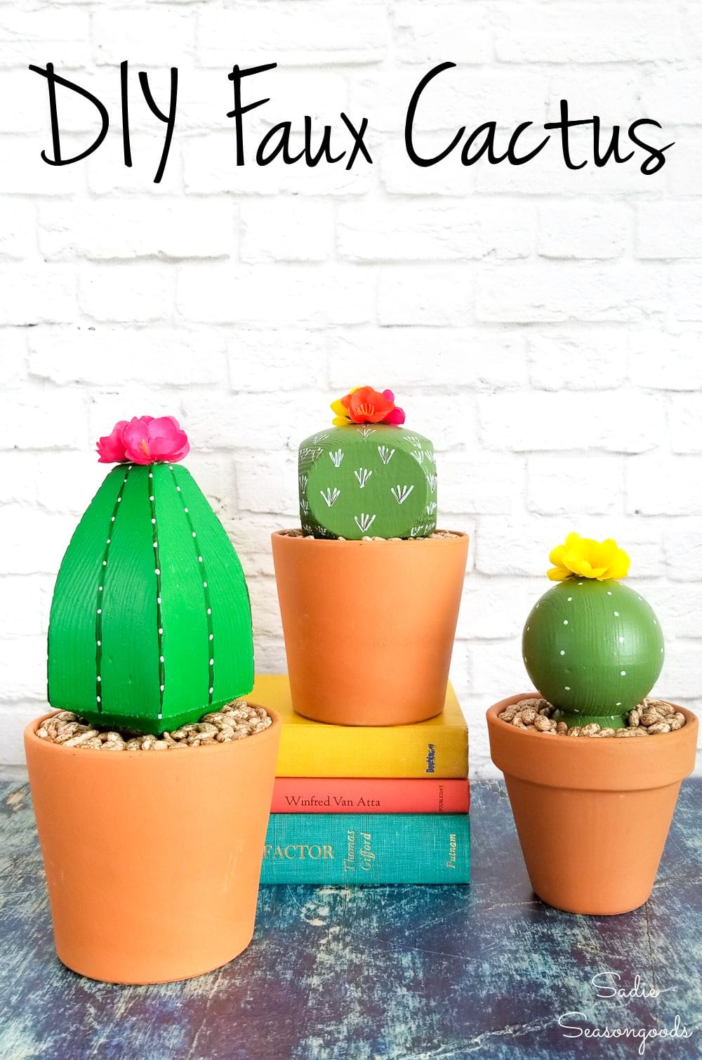 Upcycling wooden post caps as DIY cactus decor