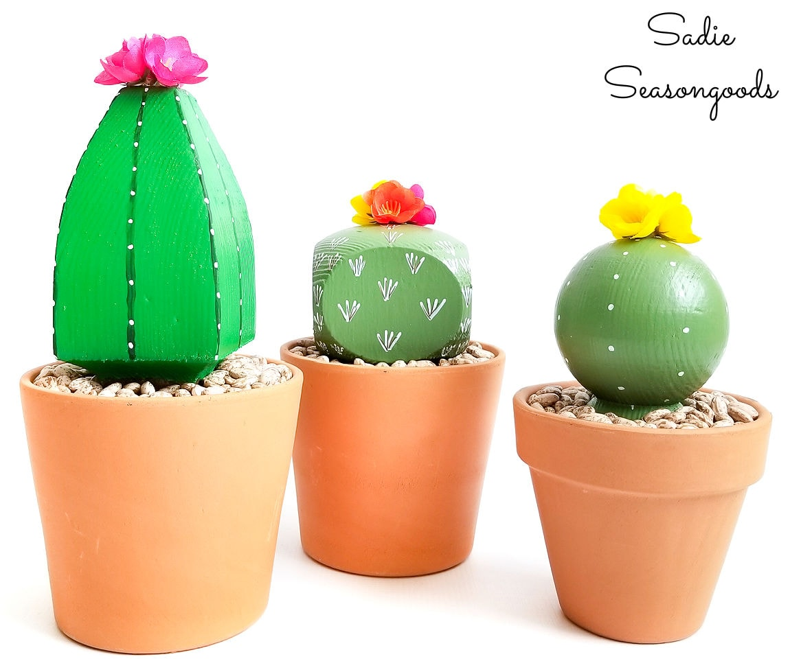Fake cactus plants from post caps