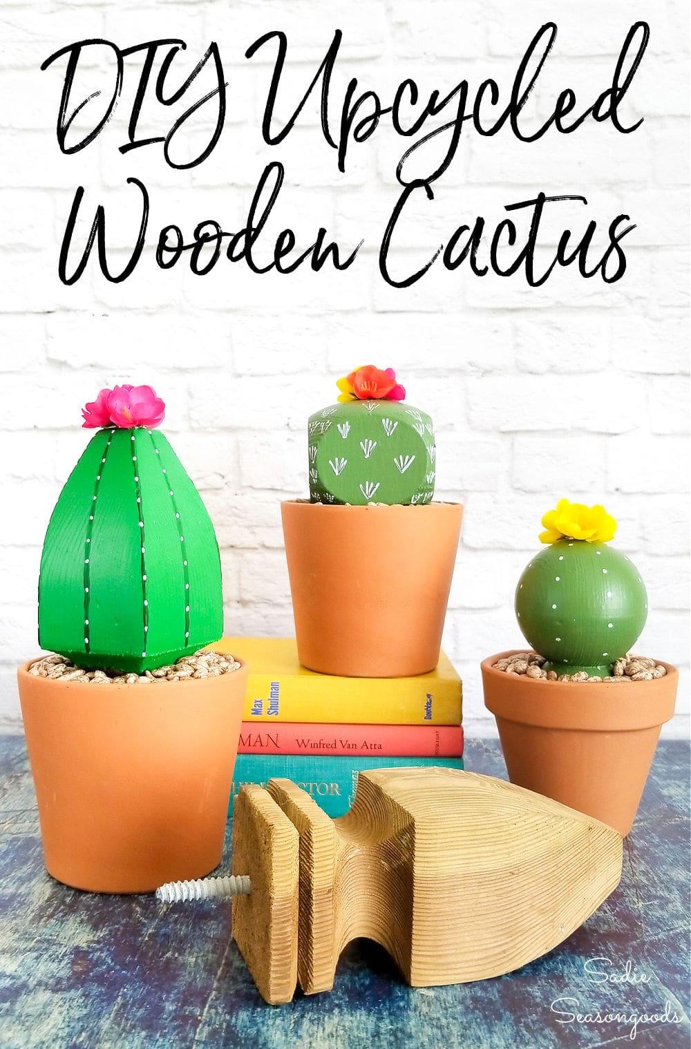 Post caps as cactus room decor