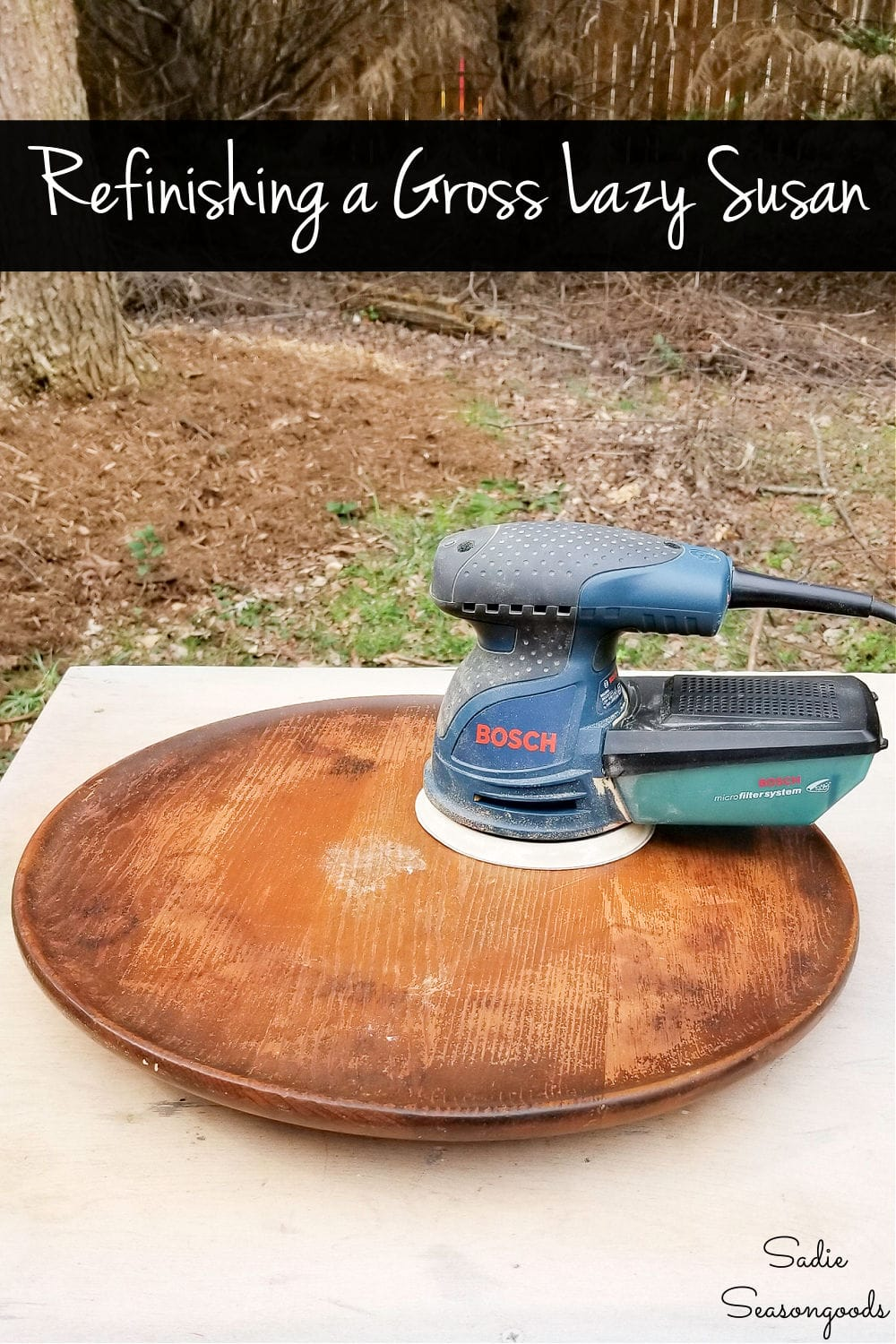 refinishing a wooden lazy susan