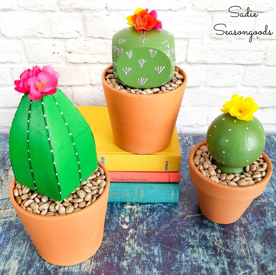 Wooden cactus decor