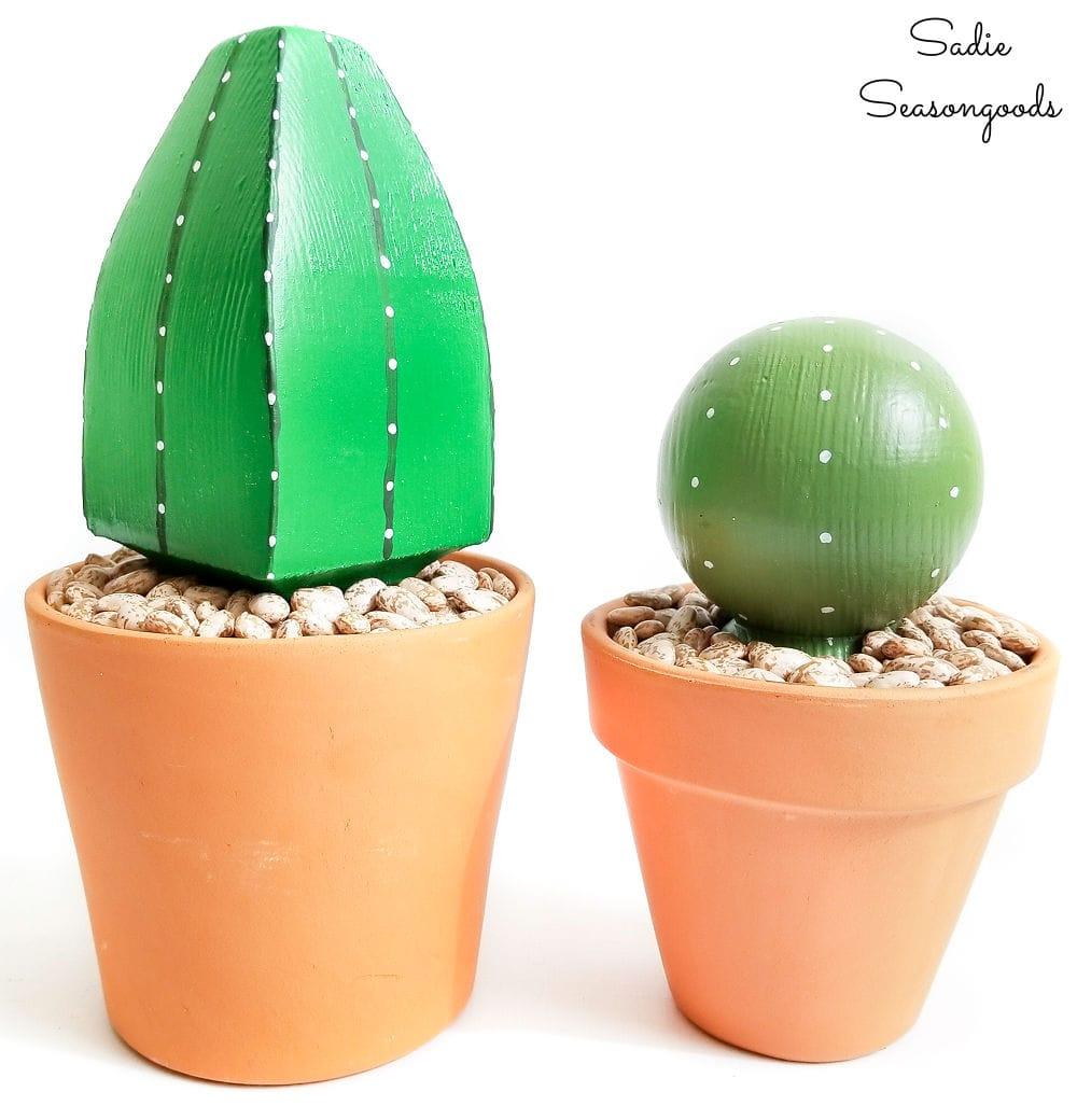 Wooden cactus for plant decor