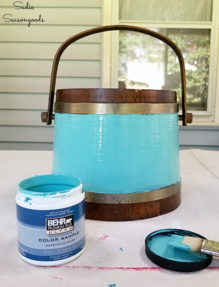 Aqua paint on a vintage ice bucket for upcycling into vintage farmhouse decor