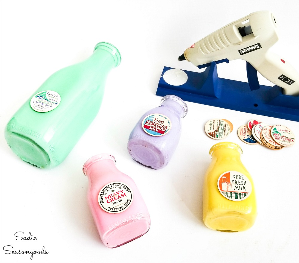 Milk tops on the vintage glass milk bottles as Spring decor ideas for the home