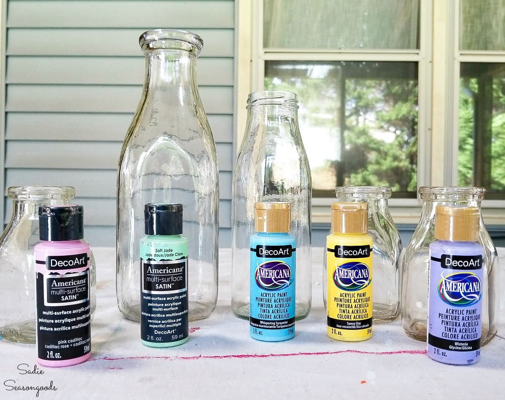 Painting the inside of the vintage glass bottles