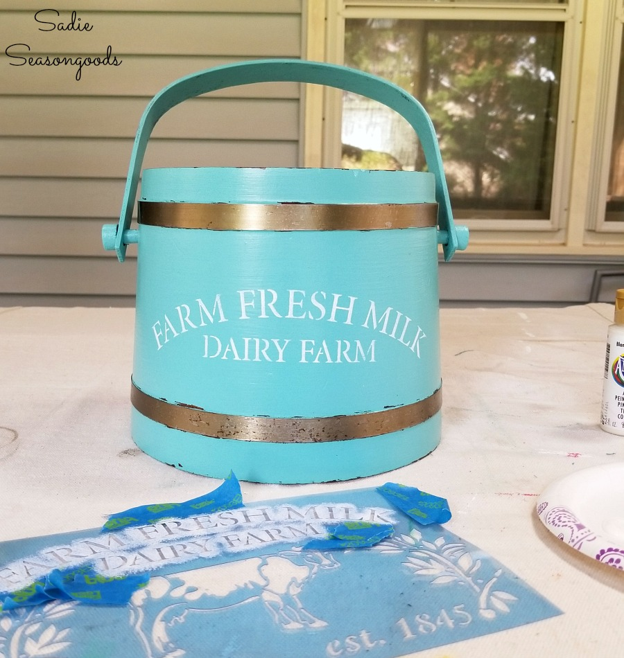 Thrift store upcycle on a vintage ice bucket to look like a firkin