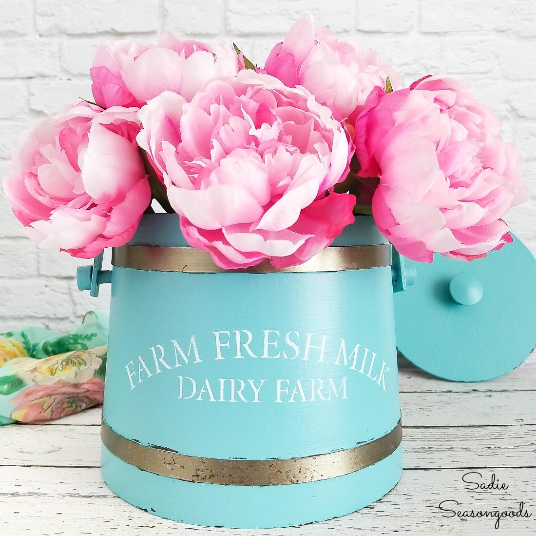 Flower Bucket for Vintage Farmhouse Decor