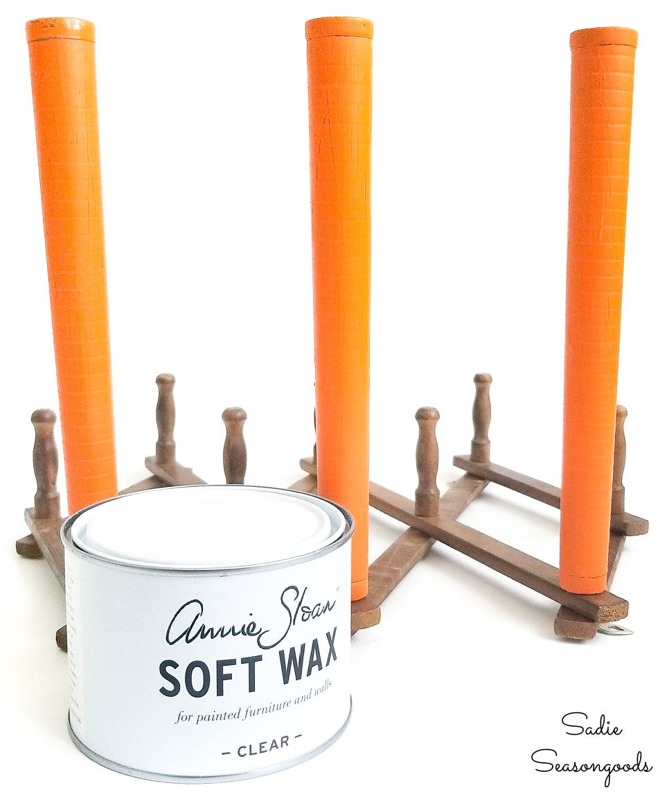 Clear wax over chalk paint on vintage bobbins