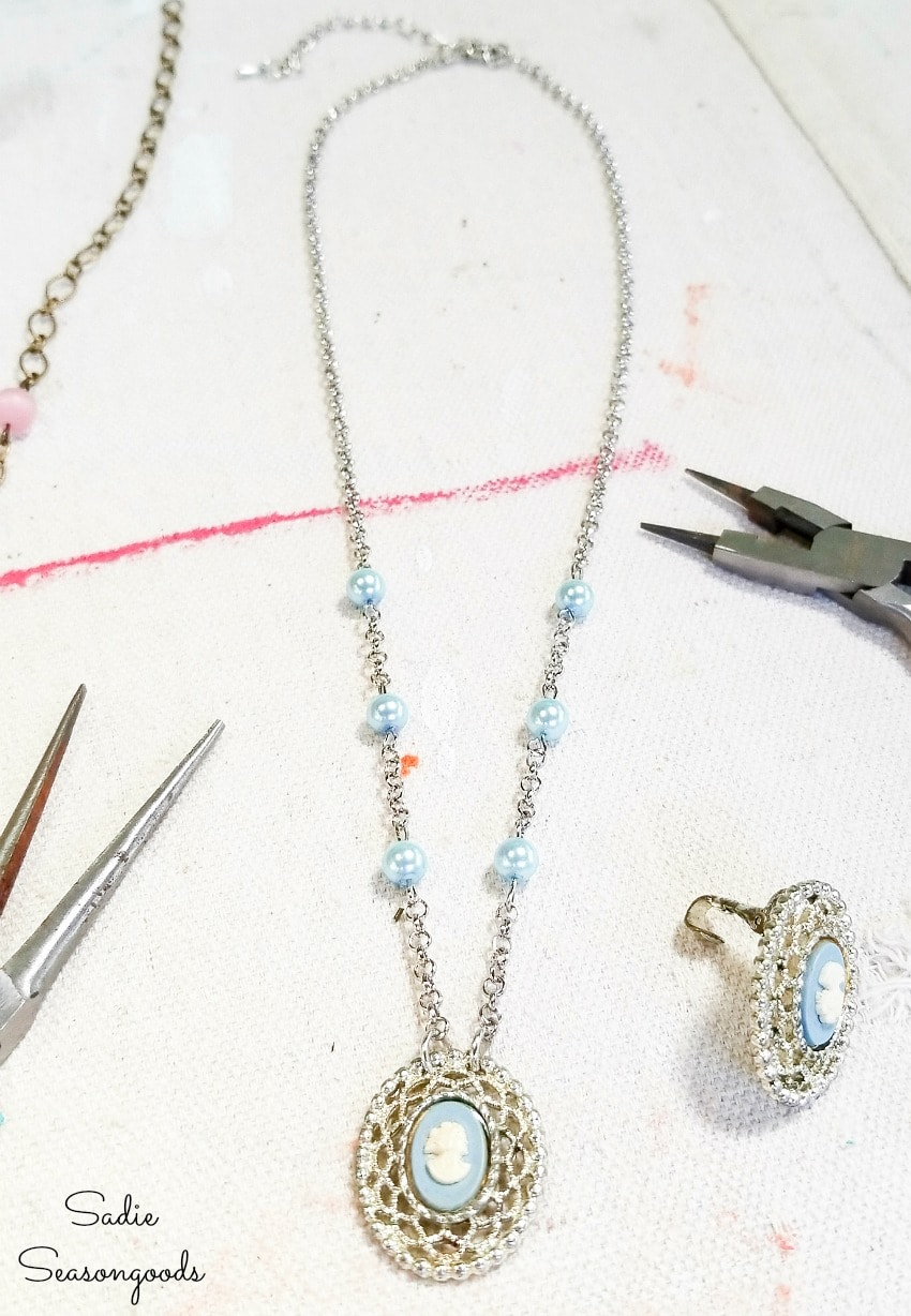 Converting vintage earrings into a mother and daughter necklace set