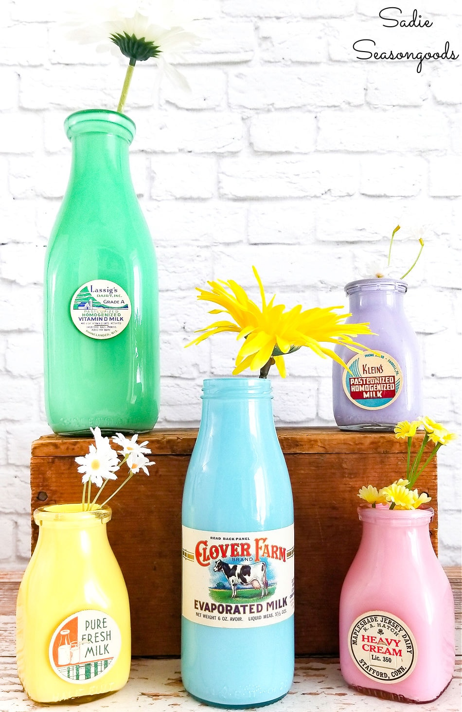 Decorating for Spring with vintage milk bottles