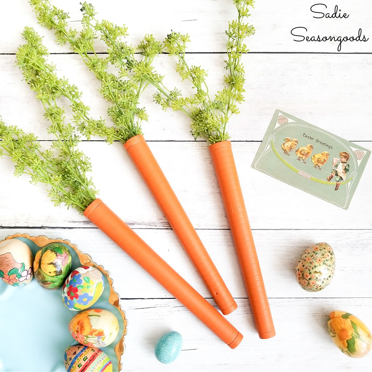 Decorative Carrots from Vintage Bobbins