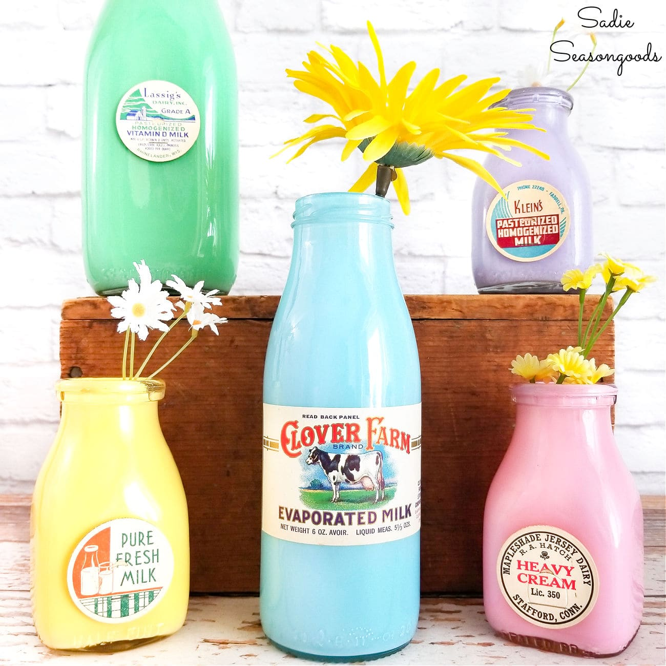 Spring Decor with Old Milk Bottles
