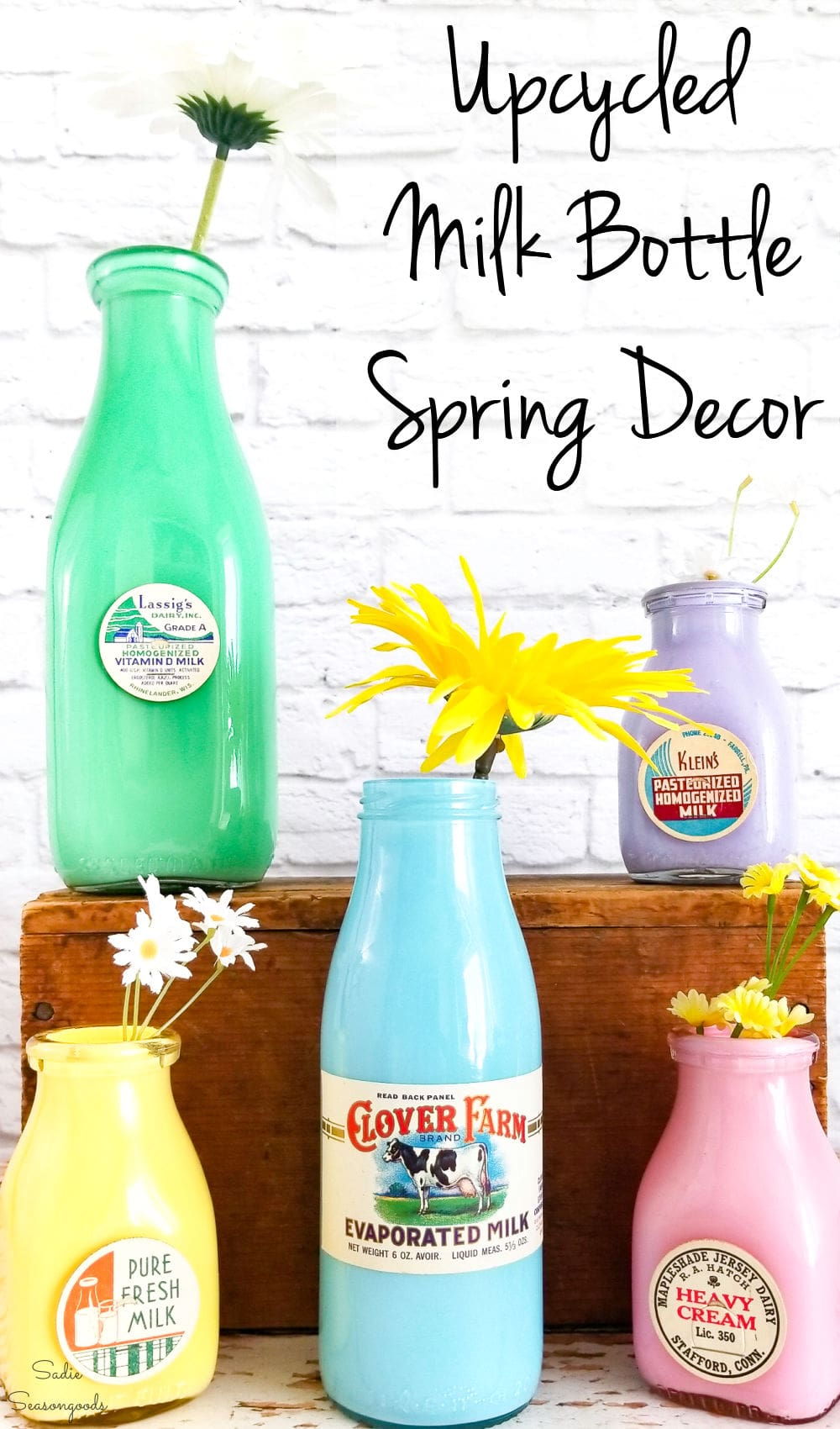 Upcycling idea for vintage milk bottles