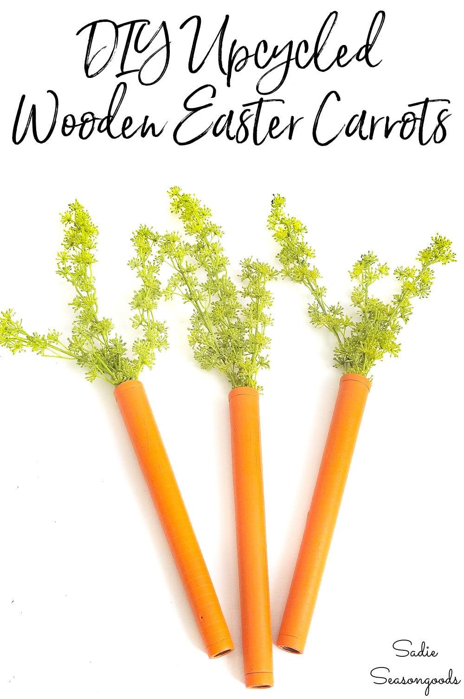Vintage bobbins as wooden carrots