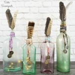 Bohemian Decor with Antique Bottles and Metal Buttons