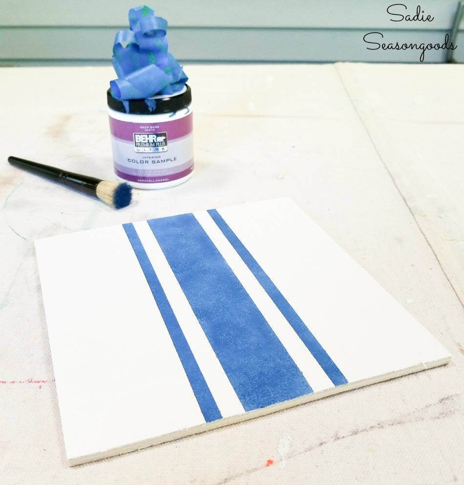 How to paint grain sack fabric stripes for French farmhouse decor