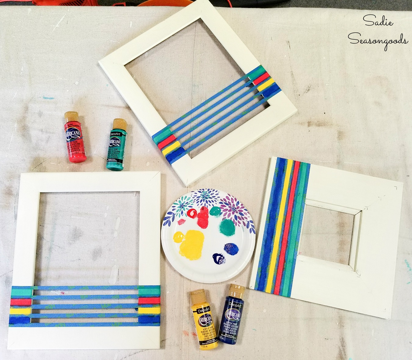 Painting picture frames to look like a Hudson Bay wool Blanket