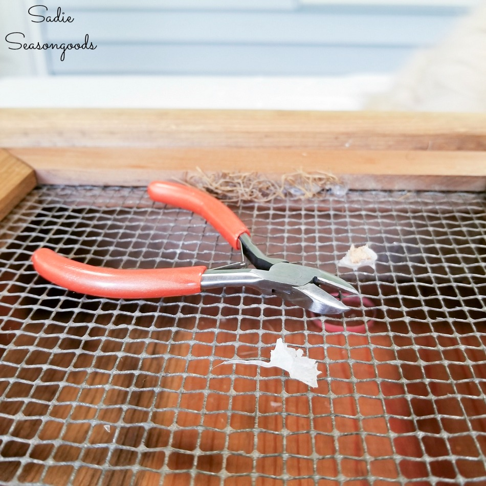 Removing old glue from mesh hardware cloth