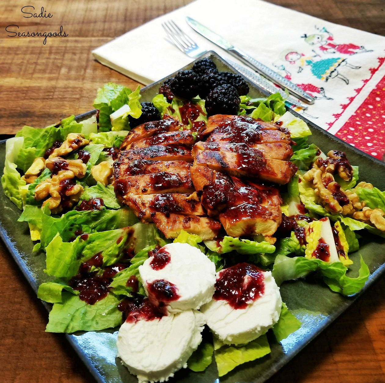 Salad with fruit - blackberry chicken salad using a recipe by ClosetCooking - photo by Sadie Seasongoods