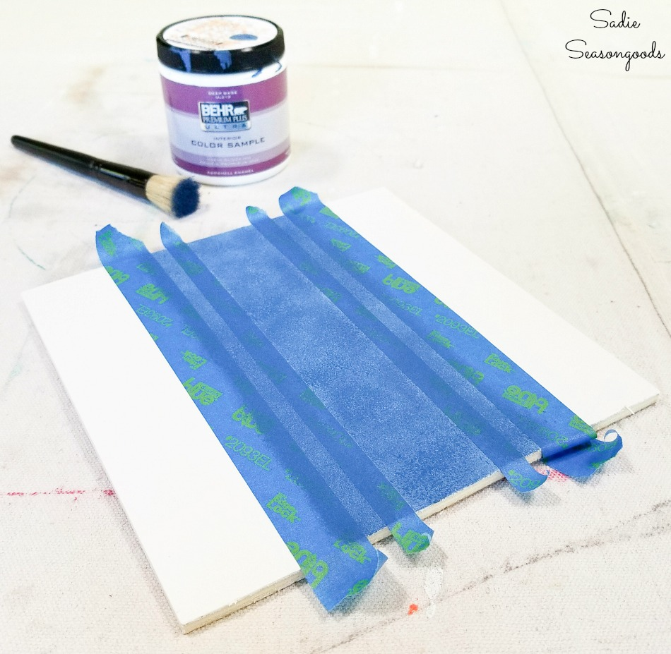 Stenciling stripes on wood to look like grain sack fabric