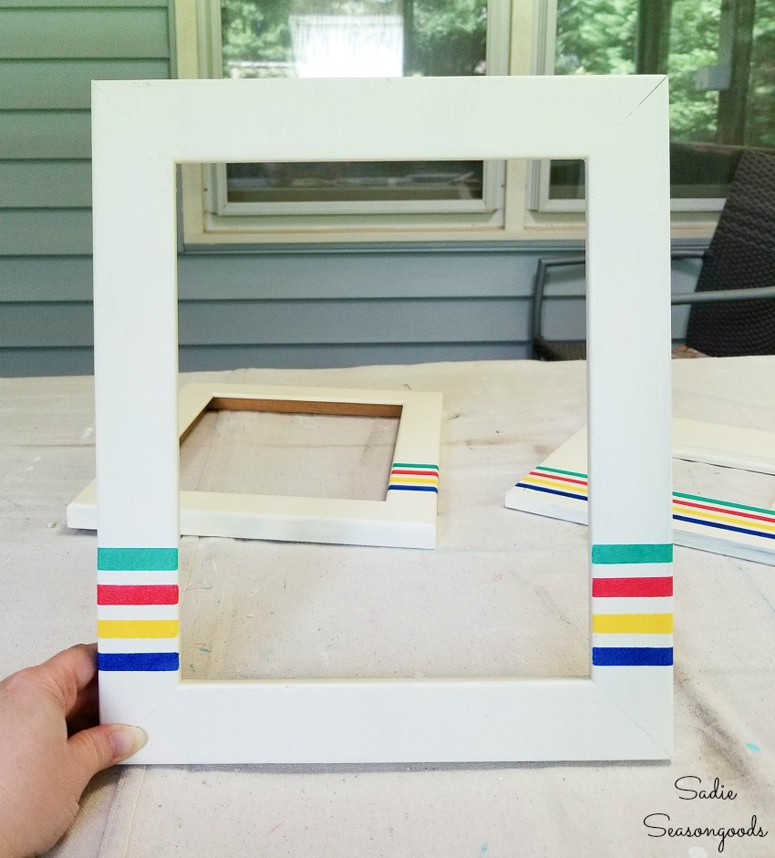 Upcycling a picture frame with Hudson Bay Stripes for camping decor