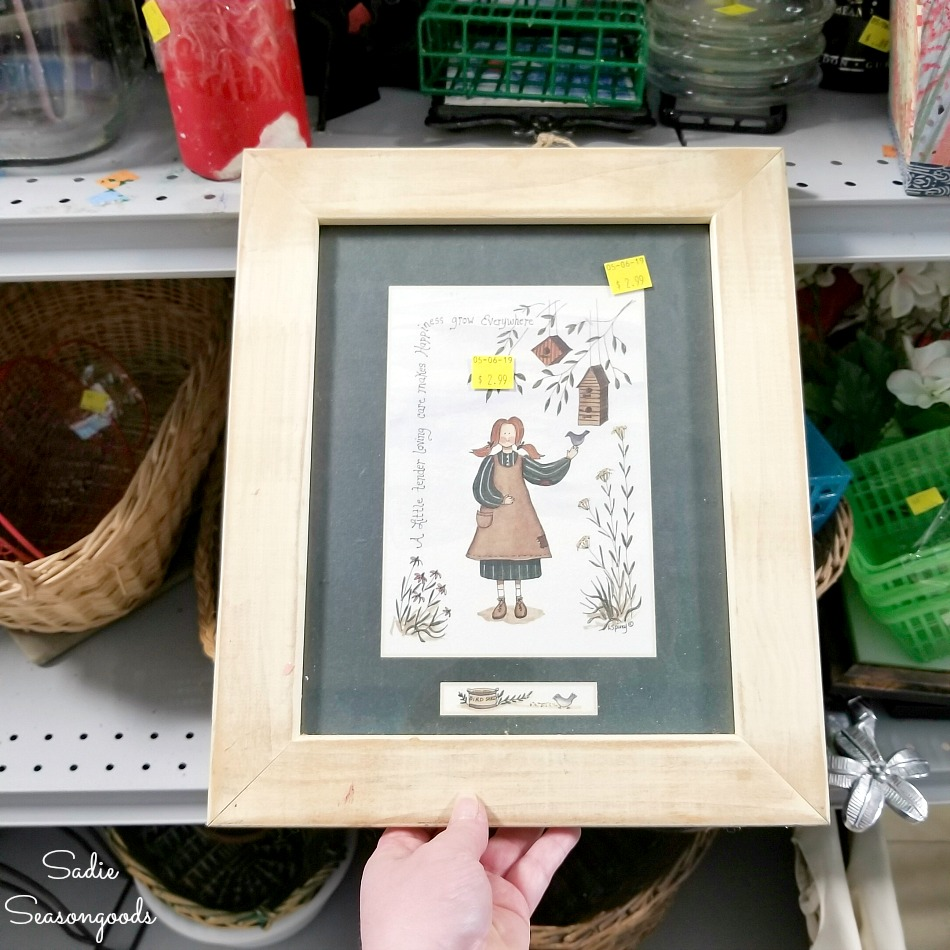 Wooden picture frame at a thrift store