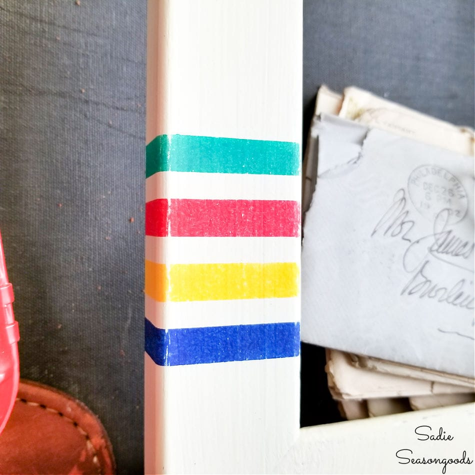 hudson bay stripes on a repurposed picture frame