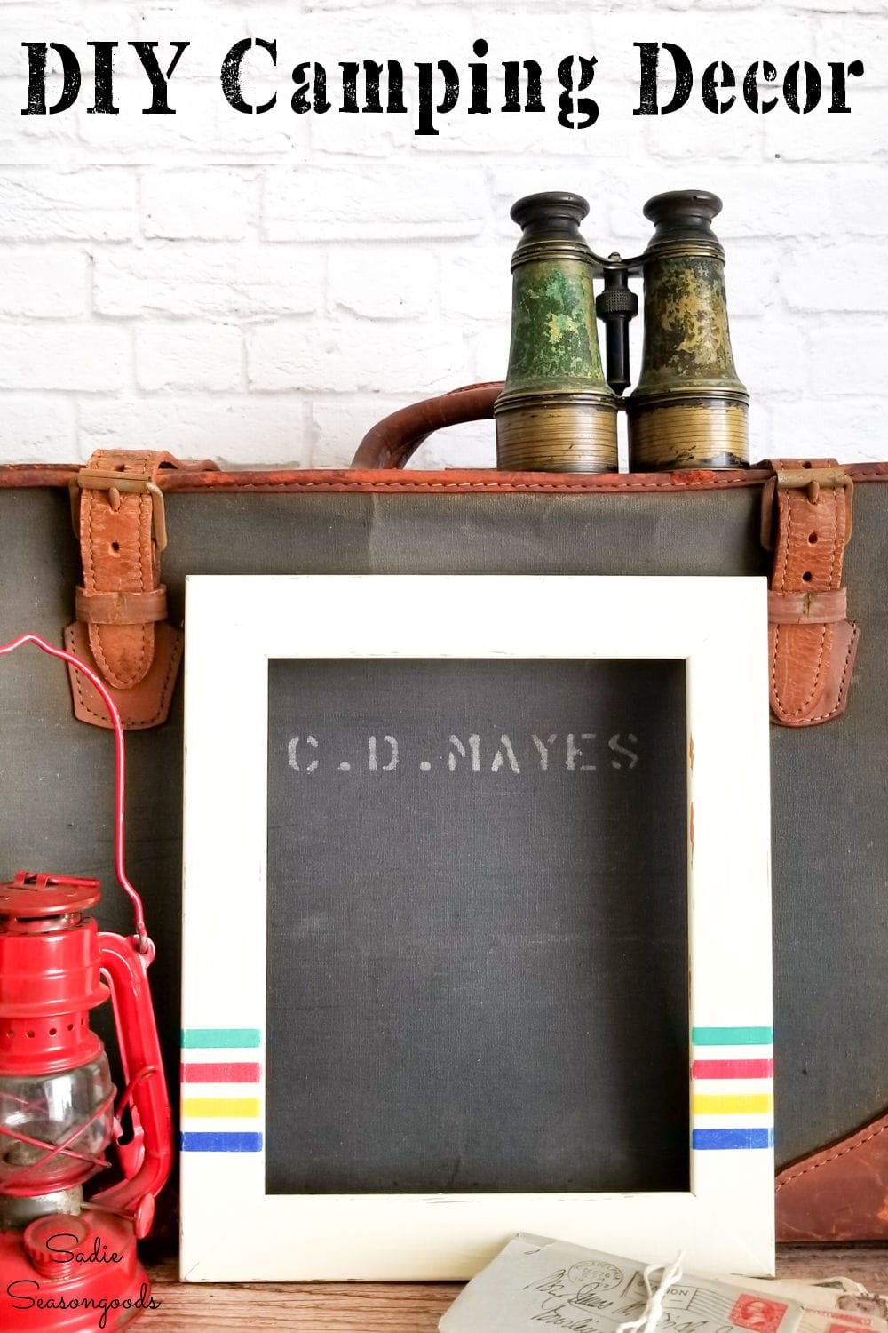 painted picture frames as camping decor