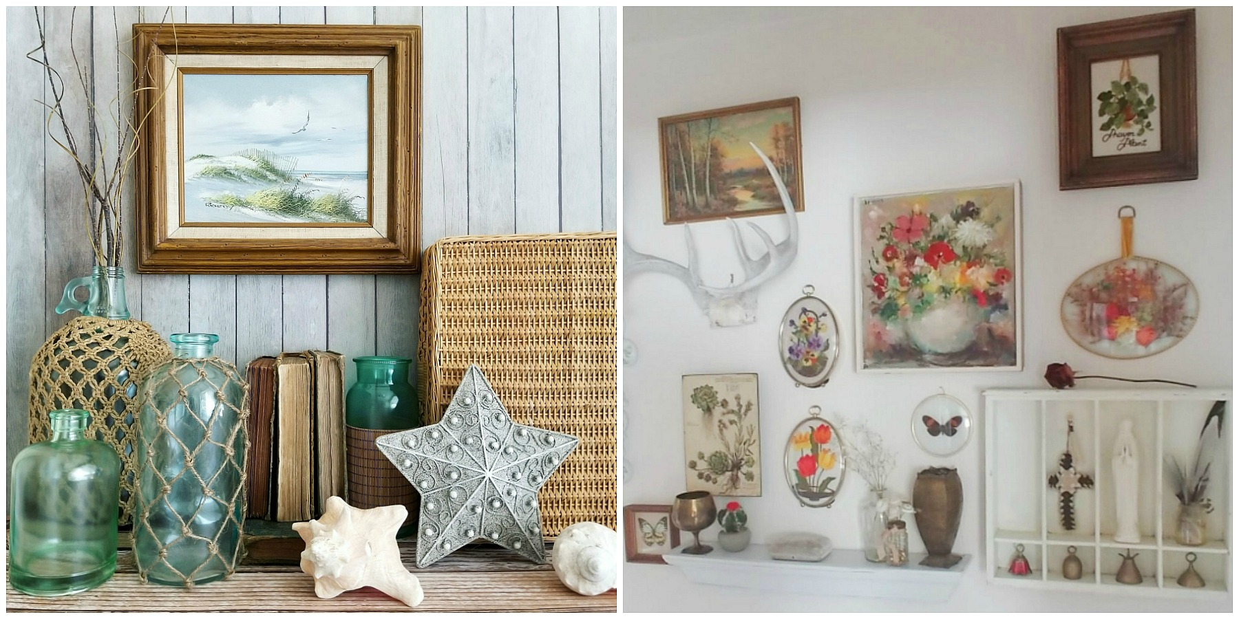 Beach Cottage Decor by Sadie Seasongoods and Boho Cottage Decor by Little Vintage Cottage